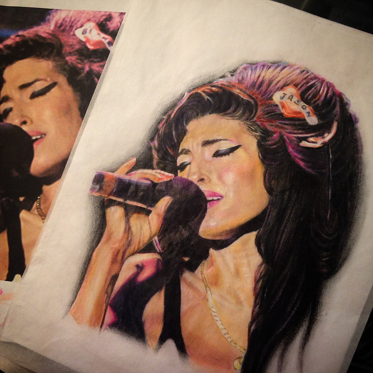 Drawing colored pencil amy winehouse