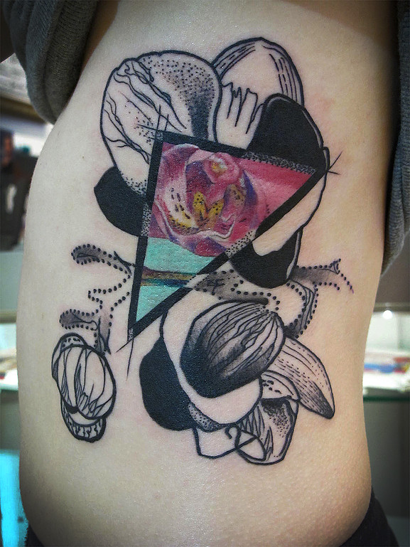 Tattoo mixed style orchid