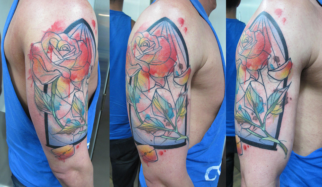Tattoo watercolor beauty and the beast rose